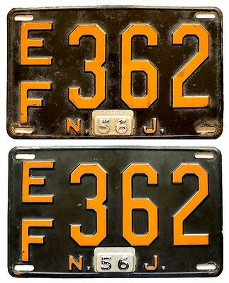 New Jersey 1956 License Plate PAIR, Essex County, EF 362