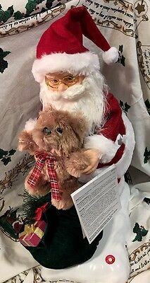 "Santa Claus Motionette W Bear Led Illumination Musical 24"" Christmas Decor"