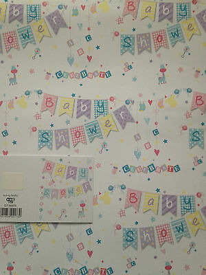 New Baby Shower Wrapping Paper 2 Sheets + 1 Matching Gift Tag