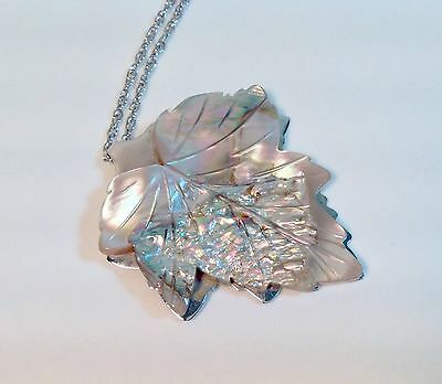 """Carved Mother of Pearl Pendant Leaf Shape on Whiting & Davis 24"""" Chain Necklace"""