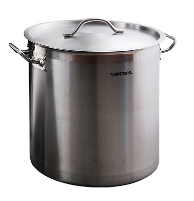 Deep Stainless Steel Stock Soup Pot 50L Commercial Stew Casserole Brew 40cm Chef