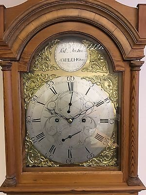 Antique longcase clock by P Justice 8 day pine case brass silvered dial