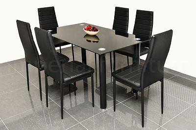 Dining Table And Chairs Set Black Glass With 4 Or 6 Faux Leather Chairs New ***