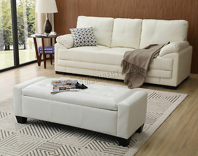 FoxHunter PU Leather Ottoman Storage Bench Footrest Stool Lift Top Home White