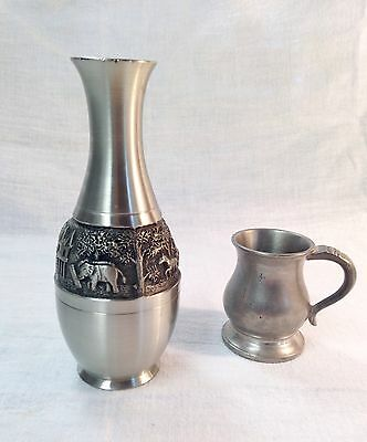 VTG Pewter Vase (Thailand Oriental Pewter Co) & Pewter Mug (Crown & Roses ENG)