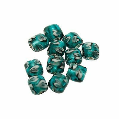 10 Teal with Heart Pattern and Silver Foil Glass Beads