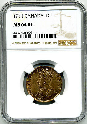 Canada 1911 Godless One Cent Ngc Ms64 Rb (Very Red)