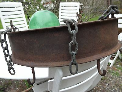 """OLD Wrought Iron Rack , Hanging, 3- Chains, 8 Hooks Stamped GOODYEAR +No""""s USA,"""