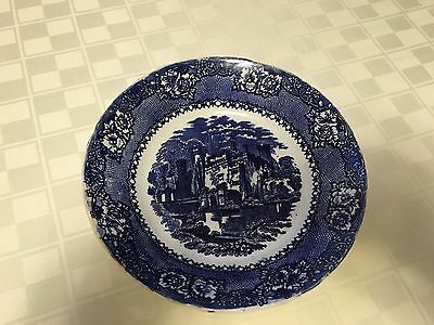 Antique English Castle Scene Flow Blue / Transferware Bowl ~ Alhambra Pattern