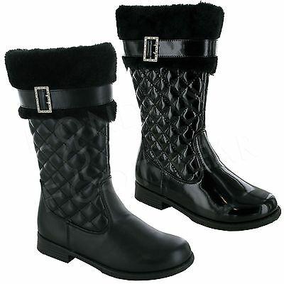 New Girls Kids Infants Faux Fur Quilted Mid Calf Boots Snow Winter Zip Warm Size