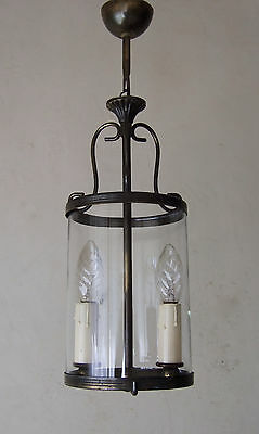 Antique Vintage French Round Glass  Lantern Chandelier  Light Two Branch