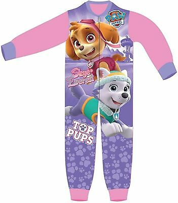 Girls Character Paw Patrol Skye New Fleece Playsuit All In One Sleepsuit Pyjamas