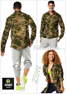 ZUMBA One Love Button Down Flannel Shirt Camo Army Green w Gold ~Unisex S M L