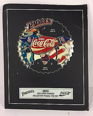 """Coca-Cola"" San Diego Padres 2002 Collectors Puzzle 7pc Pin Set w/Frame S1262"