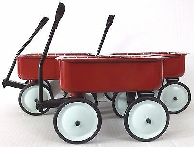 NEW Lot of 3 Teleflora Little Red Wagon Plain Metal Pull Handle Flower Planter