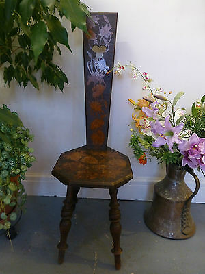 Vintage Carved Arts and Crafts Spinning Chair William Morris Style Flowers