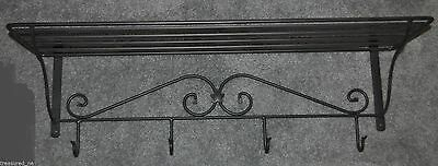 Longaberger LARGE Wrought Iron Wall Shelf & Hooks~#70092