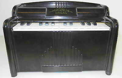 MAGNUS #1510 Bakelite 1940's Electric CHILDS TOY ORGAN ~ Works Great