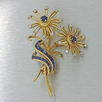 Vintage 18k Solid Yellow Gold 1ctw Sapphire .80ctw Diamond Flower Brooch Pin