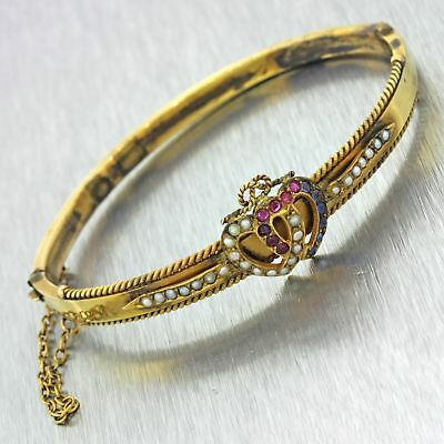 1860s Antique Victorian 9ct Solid Gold Heart Pearl Sapphire Ruby Bangle Bracelet