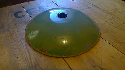 Reclaimed Industrial Dome Light Shade Green White Enamel 1950's Factory Domed