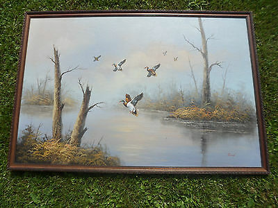 Vintage oil on board in gadroon frame,a stunning painting of ducks in flight