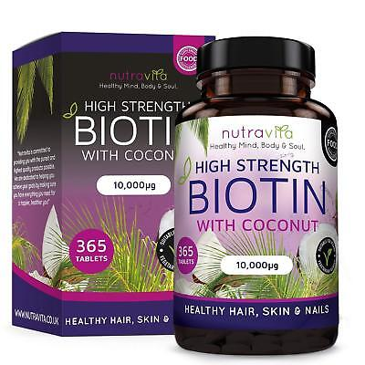 A Biotin Coconut Oil Hair Growth Supplement 10000MCG 180 Fast Absorbing Softgels