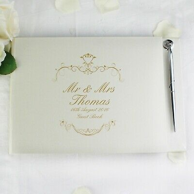 Beautiful Personalised Gold/Black Ornate Swirl Wedding Guestbook & Pen 30 Pages