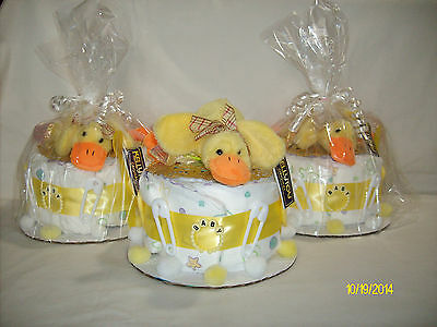 Girls Baby Feet 1-Layer Yellow Baby Ducky Diaper Cake with Accessories