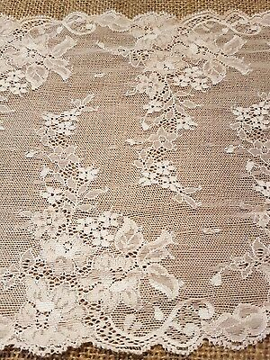Beautiful 8 inch wide double edge soft pink stretch vintage lace
