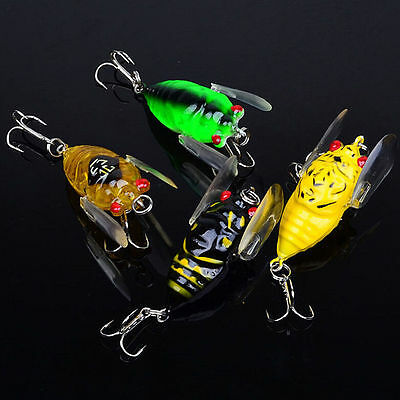 4x Winged Cicada 40mm Fishing Lure Topwater Popper Freshwater Bream Bass Bream