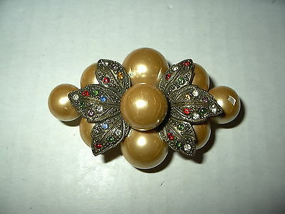 Vintage Antique Victorian Brasstone & Gold Pearls & Colored Crystals Brooch Pin