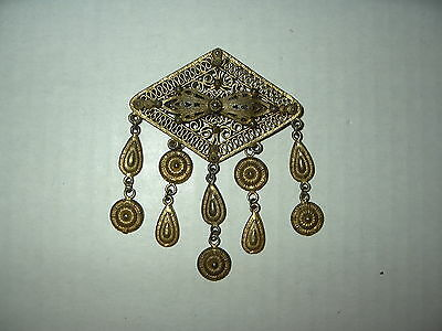 Large Vintage Antique Victorian Goldtone Diamond Shaped Brooch Pin With Dangles