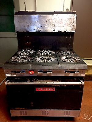 Heavy Duty Commercial Vulcan 6 Burner Natural Gas Range W/ Oven - Can Ship