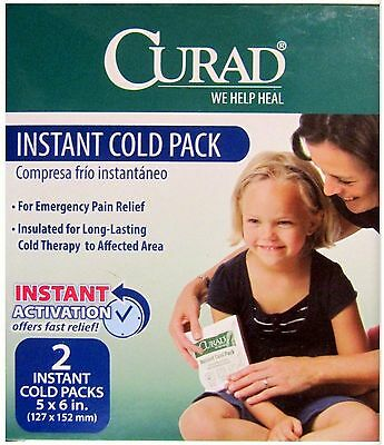 CURAD Instant Cold Packs 5 x 6in  Latex Free ( 2 cold packs per box ) -- 1 box