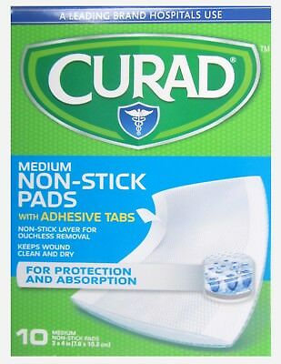 CURAD Non Stick Pads w/ Adhesive Tabs 3 x 4 in ( 10 pack ) -- 1 box