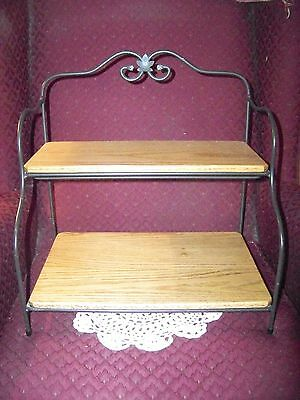 Longaberger Wrought Iron Small Baker's Rack With 2 Custom Made Shelves