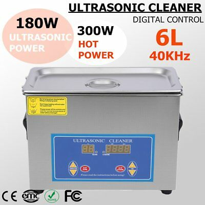 New Stainless Steel 6L Liter Industry Heated Ultrasonic Cleaner Heater w/Timer Y