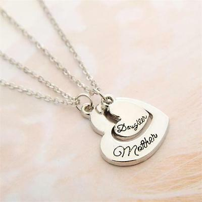 2pcs Matching Necklace Set Mother Daughter Mom Family Hearts Love Silver Tone