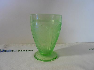 "Depression Jeannette Green Cherry Blossom 4.5"" Scallop Footed Tumbler"