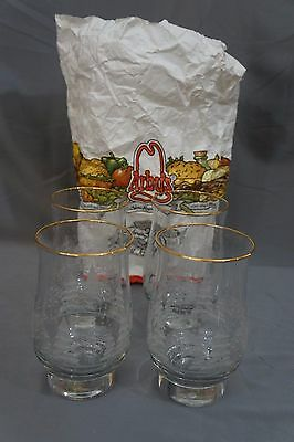 NOS in ORIGINAL ARBY's Bags Set/ 4 Christmas Holiday Winter Scene Glasses w Gold