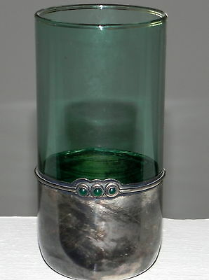 Art Nouveau Solid Silver And Green Blue Glass  Large Cup