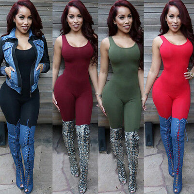 Women Ladies Clubwear Playsuit Sleeveless Bodycon Party Jumpsuit&Romper Trousers