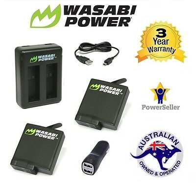 Wasabi Power Hero 5 Battery x 2 (1220mAh) for GoPro (v03) + DUAL CAR USB CHARGER