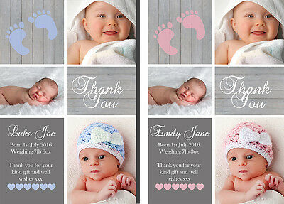 Folded or Flat Personalised New Baby Photo Thank You Cards Birth Announcement