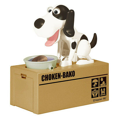Robotic Hungry White & Black Dog Puppy Bank Coin Eating Saving Canine Money Box