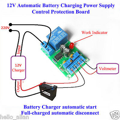 Micro 12V Automatic Battery Charging Power Supply Control Protection Board Relay