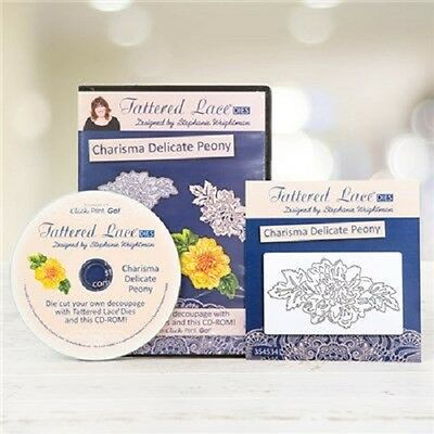 Tattered Lace Charisma DELICATE PEONY Die + Decoupage CD-ROM - D981 -FREE UK P&P