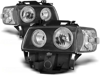 New Set Headlights Rhd Lpvw28 Vw T4 08.96-03.03 Bus Angel Eyes Black