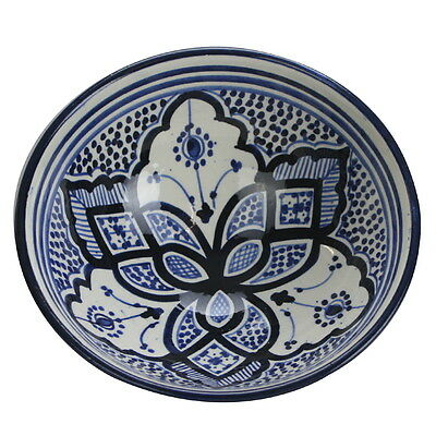 Moroccan Handmade Handpainted Ceramic Bowl 21cm. Fruit & Salad Serving Bowl NEW